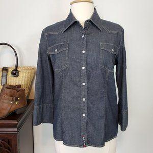 DKNY Jeans Dark Chambray Western Pearl Snaps, 12